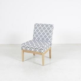 Grey & White Lantern Pattern Fabric Occ Bedroom Chair