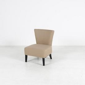 Low Sand Fabric Bedroom Chair on Dark Wood Legs