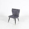 Slate Grey  Ribbed Suedette Chair On Black And Gold Splay Legs