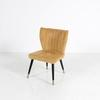 Golden Ribbed Suedette Chair On Black And Gold Splay Legs