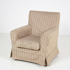 2 Tone Beige Stripe Loose Cover Armchair