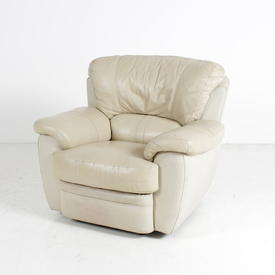 Padded Cream Leather Reclining Armchair