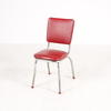 Red Vinyl & Chrome Curve Leg Kitchen Chair