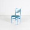 White Ladderback/Blue Vinyl Seat Occasional Kitchen Chair