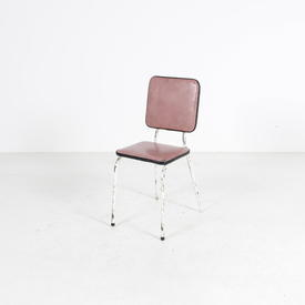 Faded Red Vinyl & White Tubular  Dining Chair