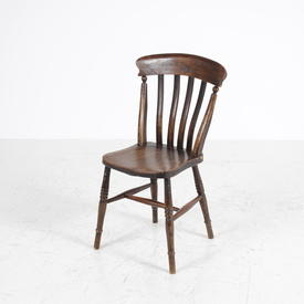 Dark Stain Pine Lathe Back Kitchen Chair