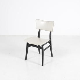 50'S Off White Gilt Trim Vinyl/Black Frame Occ Dining Chair