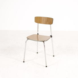 Wood Formica Slat Back And Seat Chrome Leg Stacking K/Chair