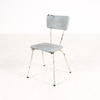 50's White Tubular Frame Blue Faded Seat Kitchen Chair