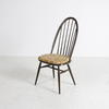 Dark Ercol Style Stickback Occ Dining Chair & Floral Pads