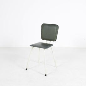 50'S White Tubular Frame Olive Green Seat Kitchen Chai