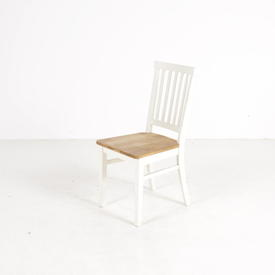 White Slatted Back Oak Seat Portobello Dining Chair