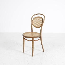 Pale Polished Walnut Rattan Seat & Back Bentwood Occ Chair