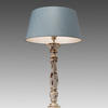 White Wash Large Wooden Candlestick Table Lamp