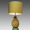 Yellow & Brass Pineapple Table Lamp With Yellow Drum Shade