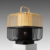 Short Natural & Black Square Bamboo Lantern