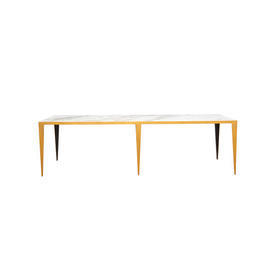 Rect White Marble Topped Coffee Table on Gold Frame