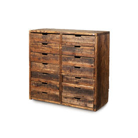 Rustic Wooden 14 Drawer Chest