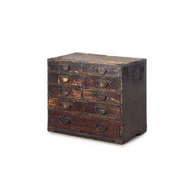 Small Dark Oak 9 Drawer Utilty Chest + Metal Handles