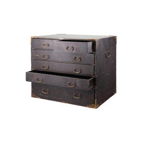 Small Black Wood 6 Drawer Utilty Chest with Brass Handles