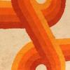 60s Cream And Orange Superstars Swirl Rug ( L: 305cm W: 198cm )