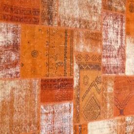 Orange Distressed Over-Dyed Patchwork Rug