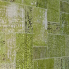 Lime Green Distressed Over-Dyed Patchwork Rug