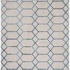 "Cream & Blue Geometric Pattern ""Koko"" Rug ( L: 230cm W: 160cm )"