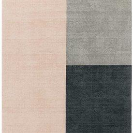 """Pink & Grey """"Blox"""" Wool Rug"""