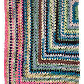 "Crochet Throw 4'8"" x 4' Multi Concentric Squares"