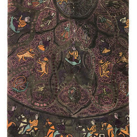 "Throw 5'4"" x 5'4"" Charcoal / Purple Indian Figures & Animals Geo Silk Emb Linen"