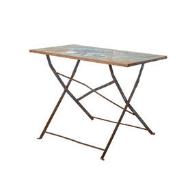 Small Aged Blue Metal Dining Table