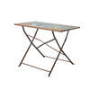 Small Aged Blue Metal Dining Table ( H: 65cm L: 91cm W: 49cm )