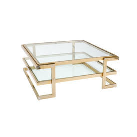 Square Deco Gold & Glass Coffee Table with Shelf