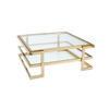Square Deco Gold & Glass Coffee Table With Shelf ( H: 42cm L: 100cm W: 100cm )