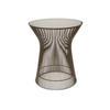 Bronze Steel Rod W.P Lamp Table With Glass Top ( H: 47cm Diam: 40cm)