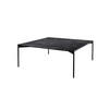 "Square Black Marble ""Plateau"" Coffee Table On Black Legs ( H: 35cm L: 90cm W: 90cm )"