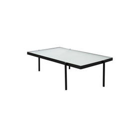 "Low Black Metal Rect ""Tab"" Coffee Table with Square Patterned Glass Top"