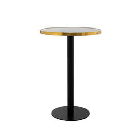"Circular Black & Brushed Gold ""Pigalle"" Poser Table with Black Glass Top"