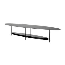 "Oval Slim Black Metal ""Panna Cotta"" Coffee Table with Black Marble Shelf"