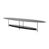"Oval Slim Black Metal ""Panna Cotta"" Coffee Table With Black ( H: 35cm L: 180cm W: 50cm )"