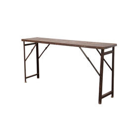 Rusted Metal Trestle Console Table