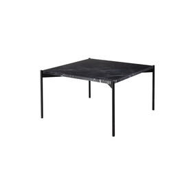"Square Black Marble ""Plateau"" Lamp Table on Black Legs"