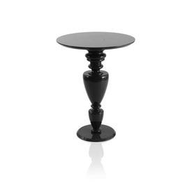 "Circ Black Lacq Ornate Turned Leg ""Doris"" Side Table"
