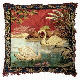 """Cushion 22"""" x 22"""" Red Swans on Pond Plush / Fringe"""