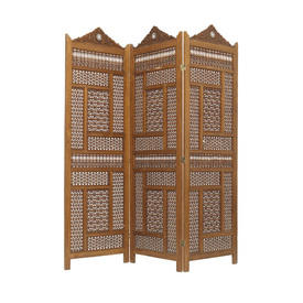 Beaded Teak Carved Pearl inlaid 3 Fold Screen