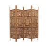 Carved Moorish Leaf Pattern Teak 4 Fold Screen ( H: 183cm W: 205cm )