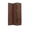 Darkwood & Brown Leather Woven 3 Fold Screen ( H: 183cm W: 140cm )
