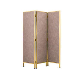 Brown Fabric 3 Fold Screen with Gold Frame