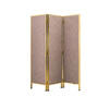 Brown Fabric 3 Fold Screen With Gold Frame ( H: 180cm W: 153cm )